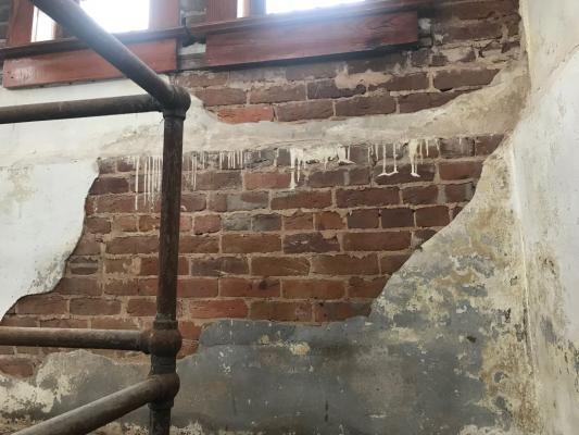 The gallows on the fourth floor of the Austin County Jail Museum have been closed to the public due in part to damaged plaster and other safety hazards that are in need of repair. (Contributed)