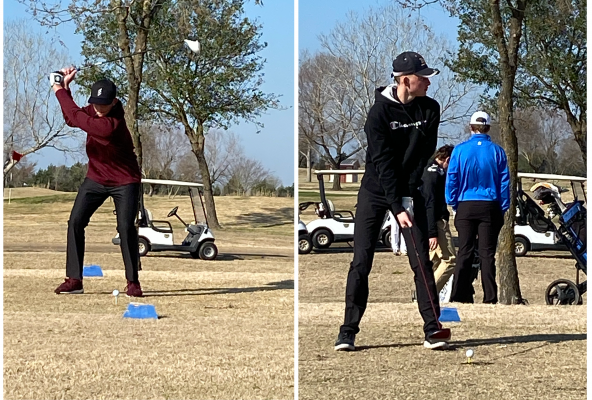 Jackson Burttschell (left) winds up for a shot at the Pecan Lakes Golf Club in Navasota during Sealy's competition there on Jan. 30. Burttschell helped the Tigers earn a top-10 team finish against larger classification schools at their most recent tournament. Steven Dorenbach (right) lines up a tee shot during the Navasota Tournament at the Pecan Lakes Golf Club on Jan. 30. Dorenbach led the Tigers in their most recent competition and tied for ninth overall. (Contributed photos)
