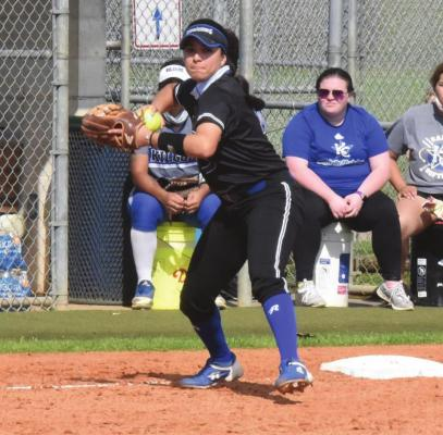 Blinn third baseman Samantha Rodriguez looks to make a throw during the Buccaneers' home-opening doubleheader against Kilgore College last Saturday. CONTRIBUTED PHOTO