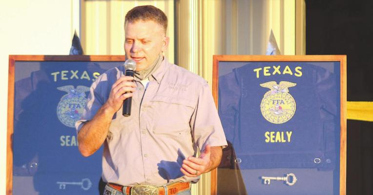 Sealy FFA advisor Troy Oliver thanks the community for its efforts in helping turn a dream into reality and providing a place for local agriculture students to work on their craft close to home. Photos by Cole McNanna