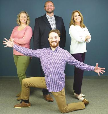 On Jan. 1, 2021, The Sealy News returned under the Granite Publications umbrella and Executive Publisher Karen Lopez, far right, and General Manager Amy Lieb, far left, return alongside Granite's Vice President of Operations Daniel Philhower, middle, and Managing Editor Cole McNanna, front. Contributed photo