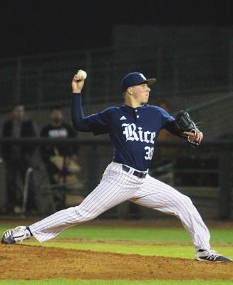Garret Zaskoda fires a pitch in his collegiate debut for the Rice Owls against the Texas Longhorns Feb. 15, 2020. Zaskoda earned his first collegiate win on the mound last Sunday. COLE McNANNA