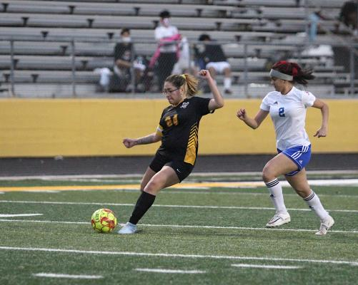 Sealy senior Destinee Castillo provided four goals to the Lady Tigers' 10-goal winning effort against Houston Harmony School of Discovery last Friday at T.J. Mills Stadium in Sealy. (Cole McNanna/Sealy News)