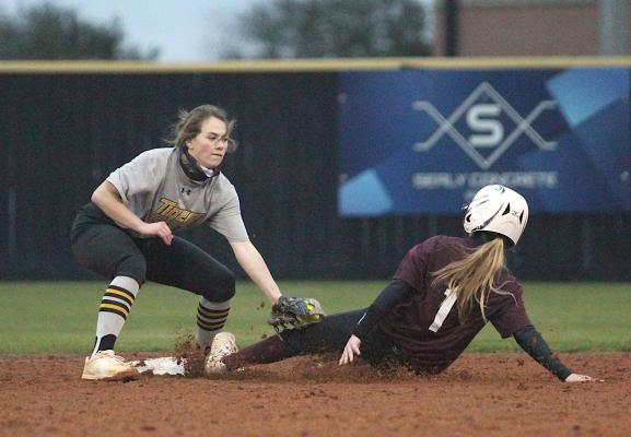 Sealy freshman Colette Kelley slaps a tag on an East Bernard baserunner during the Lady Tigers' home scrimmage last Friday at Sealy High School. (Cole McNanna/Sealy News)