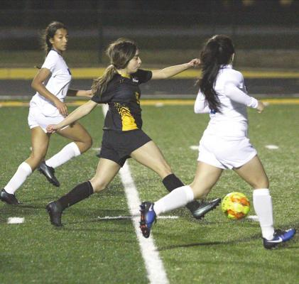 Sealy senior Leslie Saenz provided the game-opening score with a shot from the five-yard line at Mark A. Chapman Field at T.J. Mills Stadium last Friday night. The Lady Tigers beat Navasota, 1-0. (Cole McNanna/Sealy News)
