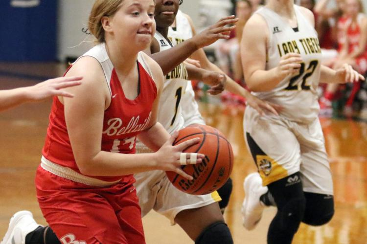 Bellville senior Sarah Hart drives the lane in a non-district game against Sealy on Dec. 5, 2019. The Brahmanettes and Lady Tigers meet this Friday in what will be a district game after the recent realignment of the University Interscholastic League. File photo